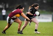 24 November 2019; Amy Walsh of Donoughmore in action against Danielle Kelly of MacHale Rovers during the All-Ireland Ladies Junior Club Championship Final match between Donoughmore and MacHale Rovers at Duggan Park in Ballinasloe, Co Galway. Photo by Harry Murphy/Sportsfile
