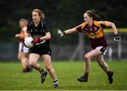 24 November 2019; Rena Buckley of Donoughmore in action against Ellis Keane of MacHale Rovers during the All-Ireland Ladies Junior Club Championship Final match between Donoughmore and MacHale Rovers at Duggan Park in Ballinasloe, Co Galway. Photo by Harry Murphy/Sportsfile