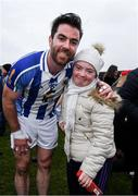 24 November 2019; Michael Darragh Macauley of Ballyboden St Endas with supporter Emily Quinn, from Lough Na Valley after the AIB Leinster GAA Football Senior Club Championship Semi-Final match between Garrycastle and Ballyboden St Endas at TEG Cusack Park in Mullingar, Westmeath. Photo by Ray McManus/Sportsfile