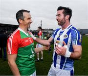 24 November 2019; Michael Darragh Macauley of Ballyboden St Endas with Dessie Dolan of Garrycastle after the AIB Leinster GAA Football Senior Club Championship Semi-Final match between Garrycastle and Ballyboden St Endas at TEG Cusack Park in Mullingar, Westmeath. Photo by Ray McManus/Sportsfile