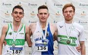 24 November 2019; Senior Men's medallists, from left, Brian Fay of Raheny Shamrock A.C., Co. Dublin, silver, Liam Brady of Tullamore Harriers A.C., Co. Offaly, gold, and Sean Tobin of Clonmel AC, Co. Tipperary, bronze, during the Irish Life Health National Senior, Junior & Juvenile Even Age Cross Country Championships at the National Sports Campus Abbotstown in Dublin. Photo by Sam Barnes/Sportsfile