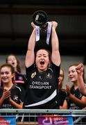 24 November 2019; Eileen Lyons of Donoughmore lifts the trophy following the All-Ireland Ladies Junior Club Championship Final match between Donoughmore and MacHale Rovers at Duggan Park in Ballinasloe, Co Galway. Photo by Harry Murphy/Sportsfile