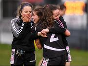 24 November 2019; Donoughmore players, Aoife Barrett, centre, Leah Buckley, right and Leah Buckley, left following the All-Ireland Ladies Junior Club Championship Final match between Donoughmore and MacHale Rovers at Duggan Park in Ballinasloe, Co Galway. Photo by Harry Murphy/Sportsfile