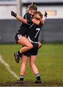 24 November 2019; Michelle Dilworth, left, and Deirdre Dineen of Donoughmore celebrate at the full-time whistle following the All-Ireland Ladies Junior Club Championship Final match between Donoughmore and MacHale Rovers at Duggan Park in Ballinasloe, Co Galway. Photo by Harry Murphy/Sportsfile