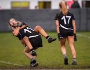 24 November 2019; Michelle Dilworth and Niamh Lohan of Donoughmore, left, celebrate at the full-time whistle during the All-Ireland Ladies Junior Club Championship Final match between Donoughmore and MacHale Rovers at Duggan Park in Ballinasloe, Co Galway. Photo by Harry Murphy/Sportsfile