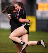 24 November 2019; Donoughmore players Leah Buckley, right, and Aoife Barrett celebrate at the full-time whistle following the All-Ireland Ladies Junior Club Championship Final match between Donoughmore and MacHale Rovers at Duggan Park in Ballinasloe, Co Galway. Photo by Harry Murphy/Sportsfile