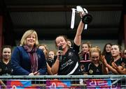24 November 2019; Donoughmore captain Eileen Lyons lifts the trophy following the All-Ireland Ladies Junior Club Championship Final match between Donoughmore and MacHale Rovers at Duggan Park in Ballinasloe, Co Galway. Photo by Harry Murphy/Sportsfile
