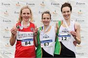 24 November 2019; Senior Women's medallists from left, Mary Mulhare of Portlaoise A.C., Co. Laois, silver, Fionnuala McCormack of Kilcoole A.C., Co. Wicklow, gold, and Una Britton of Kilcoole A.C., Co. Wicklow, bronze, during the Irish Life Health National Senior, Junior & Juvenile Even Age Cross Country Championships at the National Sports Campus Abbotstown in Dublin. Photo by Sam Barnes/Sportsfile