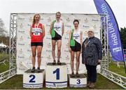 24 November 2019; Senior Women's medallists from left, Mary Mulhare of Portlaoise A.C., Co. Laois, silver, Fionnuala McCormack of Kilcoole A.C., Co. Wicklow, gold, and Una Britton of Kilcoole A.C., Co. Wicklow, bronze, with Athletics Ireland President Georgina Drumm during the Irish Life Health National Senior, Junior & Juvenile Even Age Cross Country Championships at the National Sports Campus Abbotstown in Dublin. Photo by Sam Barnes/Sportsfile