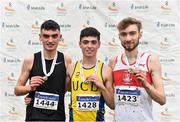24 November 2019; Junior Men's medallists, from left, Keelan Kilrehill of Moy Valley A.C., Co. Antrim, silver, Darragh McElhinney of U.C.D. A.C., Co. Dublin, gold, and Thomas Mc Stay of Galway City Harriers A.C., Co. Galway, bronze, during the Irish Life Health National Senior, Junior & Juvenile Even Age Cross Country Championships at the National Sports Campus Abbotstown in Dublin. Photo by Sam Barnes/Sportsfile