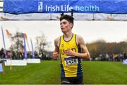 24 November 2019; Darragh McElhinney of U.C.D. A.C., Co. Dublin, crosses the line to win the Junior Men's event during the Irish Life Health National Senior, Junior & Juvenile Even Age Cross Country Championships at the National Sports Campus Abbotstown in Dublin. Photo by Sam Barnes/Sportsfile