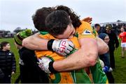 24 November 2019; Corofin players, Kieran Molloy, right, and Gary Sice celebrate after the AIB Connacht GAA Football Senior Club Football Championship Final match between Corofin and Pádraig Pearses at Tuam Stadium in Tuam, Galway. Photo by Piaras Ó Mídheach/Sportsfile
