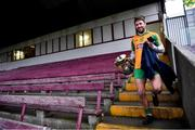 24 November 2019; Corofin captain Micheál Lundy makes his way to the dressing room with the Shane McGettigan Cup after finishing an RTÉ radio interview with Brian Carthy after the AIB Connacht GAA Football Senior Club Football Championship Final match between Corofin and Pádraig Pearses at Tuam Stadium in Tuam, Galway. Photo by Piaras Ó Mídheach/Sportsfile