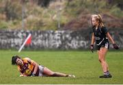 24 November 2019; Rachel Kearns of MacHale Rovers goes down injured during the All-Ireland Ladies Junior Club Championship Final match between Donoughmore and MacHale Rovers at Duggan Park in Ballinasloe, Co Galway. Photo by Harry Murphy/Sportsfile