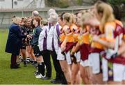 24 November 2019; Marie Hickey, LGFA President, meets the players prior to the All-Ireland Ladies Junior Club Championship Final match between Donoughmore and MacHale Rovers at Duggan Park in Ballinasloe, Co Galway. Photo by Harry Murphy/Sportsfile