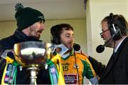24 November 2019; Corofin captain Micheál Lundy is interviewed on RTÉ radio by Brian Carthy, right, alongside analyst John Casey after the AIB Connacht GAA Football Senior Club Football Championship Final match between Corofin and Pádraig Pearses at Tuam Stadium in Tuam, Galway. Photo by Piaras Ó Mídheach/Sportsfile