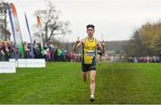24 November 2019; Darragh McElhinney of U.C.D. A.C., Co. Dublin, celebrates on his way to winning the Junior Men's event during the Irish Life Health National Senior, Junior & Juvenile Even Age Cross Country Championships at the National Sports Campus Abbotstown in Dublin. Photo by Sam Barnes/Sportsfile
