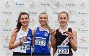 24 November 2019; Junior Women medallists, from left, Danielle Done of Tullamore Harriers A.C., Co. Offaly, silver, Jodie McCann of Dublin City Harriers A.C., Co. Dublin, gold, and Maeve Gallagher of Swinford A.C., Co. Mayo, bronze, during the Irish Life Health National Senior, Junior & Juvenile Even Age Cross Country Championships at the National Sports Campus Abbotstown in Dublin. Photo by Sam Barnes/Sportsfile
