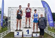 24 November 2019;  U23 Men's medallists, from left, Cathal Doyle of Clonliffe Harriers A.C., Co. Dublin, silver, Cormac Dalton of Mullingar Harriers A.C., Co. Westmeath, gold, and David McGlynn of Waterford A.C., Co. Waterford, bronze, alongside Athletics Ireland President Georgina Drumm during the Irish Life Health National Senior, Junior & Juvenile Even Age Cross Country Championships at the National Sports Campus Abbotstown in Dublin. Photo by Sam Barnes/Sportsfile