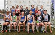 24 November 2019; U18 Women's medallists with Athletics Ireland President Georgina Drumm  during the Irish Life Health National Senior, Junior & Juvenile Even Age Cross Country Championships at the National Sports Campus Abbotstown in Dublin. Photo by Sam Barnes/Sportsfile