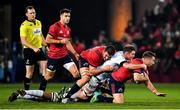 23 November 2019; JJ Hanrahan of Munster is tackled by Donnacha Ryan of Racing 92 during the Heineken Champions Cup Pool 4 Round 2 match between Munster and Racing 92 at Thomond Park in Limerick. Photo by Brendan Moran/Sportsfile
