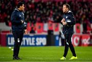 23 November 2019; Racing 92 backs coach Mike Prendergast, right, and skills coach Chris Masoe prior to the Heineken Champions Cup Pool 4 Round 2 match between Munster and Racing 92 at Thomond Park in Limerick. Photo by Brendan Moran/Sportsfile