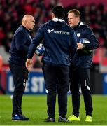 23 November 2019; Racing 92 Director of Rugby Laurent Travers, left, with backs coach Mike Prendergast, right and skills coach Chris Masoe prior to the Heineken Champions Cup Pool 4 Round 2 match between Munster and Racing 92 at Thomond Park in Limerick. Photo by Brendan Moran/Sportsfile