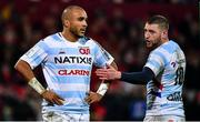 23 November 2019; Simon Zebo, left, and Finn Russell of Racing 92 during the Heineken Champions Cup Pool 4 Round 2 match between Munster and Racing 92 at Thomond Park in Limerick. Photo by Brendan Moran/Sportsfile