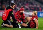 23 November 2019; Jeremy Loughman of Munster receives medical attention from Munster Lead Physiotherapist Damien Mordan, left, and Munster Head of Medical Dr Jamie Kearns before leaving the pitch with an injury during the Heineken Champions Cup Pool 4 Round 2 match between Munster and Racing 92 at Thomond Park in Limerick. Photo by Brendan Moran/Sportsfile
