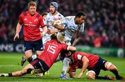 23 November 2019; Virimi Vakatawa of Racing 92 is tackled by Mike Haley of Munster during the Heineken Champions Cup Pool 4 Round 2 match between Munster and Racing 92 at Thomond Park in Limerick. Photo by Brendan Moran/Sportsfile