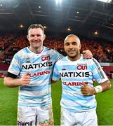 23 November 2019; Donnacha Ryan, left, and Simon Zebo of Racing 92 after the Heineken Champions Cup Pool 4 Round 2 match between Munster and Racing 92 at Thomond Park in Limerick. Photo by Brendan Moran/Sportsfile