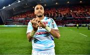 23 November 2019; Simon Zebo of Racing 92 applauds fans after the Heineken Champions Cup Pool 4 Round 2 match between Munster and Racing 92 at Thomond Park in Limerick. Photo by Brendan Moran/Sportsfile