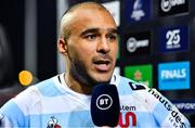 23 November 2019; Simon Zebo of Racing 92 is interviewed after the Heineken Champions Cup Pool 4 Round 2 match between Munster and Racing 92 at Thomond Park in Limerick. Photo by Brendan Moran/Sportsfile