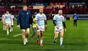 23 November 2019; racing 92 players, from left, Dominic Bird, Simon Zebo and Finn Russell leave the pitch after the Heineken Champions Cup Pool 4 Round 2 match between Munster and Racing 92 at Thomond Park in Limerick. Photo by Brendan Moran/Sportsfile