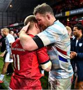 23 November 2019; Donnacha Ryan of Racing 92, right, embraces former team-mate Keith Earls of Munster after during the Heineken Champions Cup Pool 4 Round 2 match between Munster and Racing 92 at Thomond Park in Limerick. Photo by Brendan Moran/Sportsfile