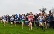 24 November 2019; Sophie Maher of Ennis Track, Co. Clare, and Eabhadh Multaney Kelly of Tullamore Harriers AC, Co. Offaly, competing in the U12 Girls Event during the Irish Life Health National Senior, Junior & Juvenile Even Age Cross Country Championships at the National Sports Campus Abbotstown in Dublin. Photo by Sam Barnes/Sportsfile