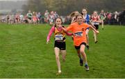 24 November 2019; Emma Hunt of Bohermeen A.C., Co Meath, left, and Kate Hanly of Bray Runners A.C., Co Wicklow, competing in the U12 Girls event during the Irish Life Health National Senior, Junior & Juvenile Even Age Cross Country Championships at the National Sports Campus Abbotstown in Dublin. Photo by Sam Barnes/Sportsfile