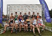 24 November 2019;  Boys U14 medallists with Athletics Ireland President Georgina Drumm during the Irish Life Health National Senior, Junior & Juvenile Even Age Cross Country Championships at the National Sports Campus Abbotstown in Dublin. Photo by Sam Barnes/Sportsfile