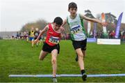 24 November 2019; Conor Looney of Blarney/Inniscara,  Co. Cork, left, and Keelan Moorhead of Craughwell AC, Co. Galway, competing in the U12 Boy's event during the Irish Life Health National Senior, Junior & Juvenile Even Age Cross Country Championships at the National Sports Campus Abbotstown in Dublin. Photo by Sam Barnes/Sportsfile
