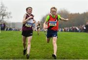 24 November 2019; Matthew Molloy of Mullingar Harriers A.C., Co. Westmeath, left, and David Coakley of Lucan Harriers AC, Co. Dublin, competing in the U12 Boy's event during the Irish Life Health National Senior, Junior & Juvenile Even Age Cross Country Championships at the National Sports Campus Abbotstown in Dublin. Photo by Sam Barnes/Sportsfile
