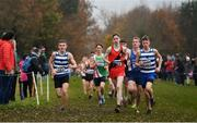 24 November 2019; Dara Donoghue of Lucan Harriers, Co. Dublin, centre, leads the field whilst  competing in the U16 Boys event during the Irish Life Health National Senior, Junior & Juvenile Even Age Cross Country Championships at the National Sports Campus Abbotstown in Dublin. Photo by Sam Barnes/Sportsfile