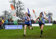 24 November 2019; Marie Hynes McLaughlin of Leevale AC, Co. Cork, left, and Faye McEvoy of Ballyroan Abbeyleix, Co. Laois, competing in the U16 Girls event during the Irish Life Health National Senior, Junior & Juvenile Even Age Cross Country Championships at the National Sports Campus Abbotstown in Dublin. Photo by Sam Barnes/Sportsfile