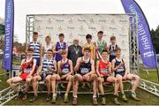 24 November 2019; U16 Boys medallists with Athletics Ireland President Georgina Drumm event during the Irish Life Health National Senior, Junior & Juvenile Even Age Cross Country Championships at the National Sports Campus Abbotstown in Dublin. Photo by Sam Barnes/Sportsfile