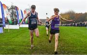 24 November 2019; Tadgh Connolly of St Senans AC, left, and Myles Hewlett of United Striders AC competing in the U16 Boys event during the Irish Life Health National Senior, Junior & Juvenile Even Age Cross Country Championships at the National Sports Campus Abbotstown in Dublin. Photo by Sam Barnes/Sportsfile