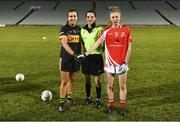 23 November 2019; Referee Maggie Farrelly speaking with team captains Brid O'Sullivan of Mourneabbey and Louise Ward of Kilkerrin-Clonberne during the All-Ireland Ladies Senior Club Championship Final match between Kilkerrin-Clonberne and Mourneabbey at LIT Gaelic Grounds in Limerick. Photo by Eóin Noonan/Sportsfile
