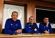 25 November 2019; PFA Ireland General Secretary Stephen McGuinness, left, head coach for 2019 Derek Pender, and Sean Boyd of Shamrock Rovers during the PFA Ireland training camp announcement at FAI HQ in Abbotstown, Dublin. Photo by Seb Daly/Sportsfile