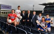 25 November 2019; In attendance at the announcement of UPMC as Official Healthcare Partner to the GAA/GPA are, from left, Cork footballer Brian Hurley, Kildare footballer Kevin Feely, Paul Flynn, CEO GPA, Uachtarán Cumann Lúthchleas Gael John Horan, David Beirne, Senior Vice President, UMPC, Waterford hurler Austin Gleeson, WIT Camogie Player Shauna Quirke and Tipperary Hurler Jake Morris at Croke Park in Dublin. UPMC, which offers trusted, high-quality health services at UPMC Whitfield Hospital in Waterford and other facilities in Ireland, will work with the GAA/GPA to promote the health of Gaelic Players and the communities in which they play. Photo by Sam Barnes/Sportsfile
