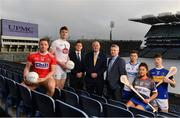 25 November 2019; In attendance at the announcement of UPMC as Official Healthcare Partner to the GAA/GPA are, from left, Cork footballer Brian Hurley, Kildare footballer Kevin Feely, Paul Flynn, CEO GPA, Uachtarán Cumann Lúthchleas Gael John Horan, David Beirne, Senior Vice President, UMPC, Waterford United hurler Austin Gleeson, WIT Camogie Player Shauna Quirke and Tipperary Hurler Jake Morris at Croke Park in Dublin. UPMC, which offers trusted, high-quality health services at UPMC Whitfield Hospital in Waterford and other facilities in Ireland, will work with the GAA/GPA to promote the health of Gaelic Players and the communities in which they play. Photo by Sam Barnes/Sportsfile