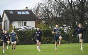 25 November 2019; Players, from right to left, James Tracy, Will Connors, Peter Dooley and Seán Cronin during Leinster Rugby squad training at UCD in Dublin. Photo by Ramsey Cardy/Sportsfile