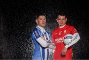 26 November 2019; Ballyboden St. Endas footballer Ryan Basquel, left, is pictured with Éire Óg and Carlow footballer Sean Gannon ahead of the AIB Leinster Senior Football Club Championship Final where they face Ballyboden St. Endas of Dublin on Sunday December 8th. AIB is in its 29th year sponsoring the GAA Club Championship and is delighted to continue to support the Junior, Intermediate and Senior Championships across football, hurling and camogie. For exclusive content and behind the scenes action throughout the AIB GAA & Camogie Club Championships follow AIB GAA on Facebook, Twitter, Instagram and Snapchat. Photo by Ramsey Cardy/Sportsfile
